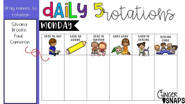 Daily 5 Rotation Chart {Freebie}