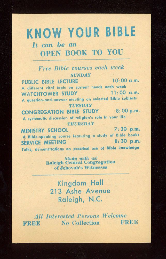 Kingdom Hall Meetings tract - 1970s  - Watchtower society - Jehovah's Witnesses