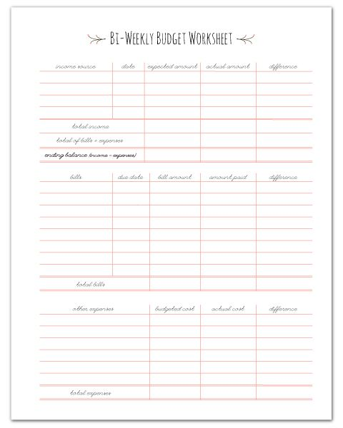 Printables Free Bi Weekly Budget Worksheet 1000 ideas about weekly budget printable on pinterest free paycheck worksheet other home management binder printables