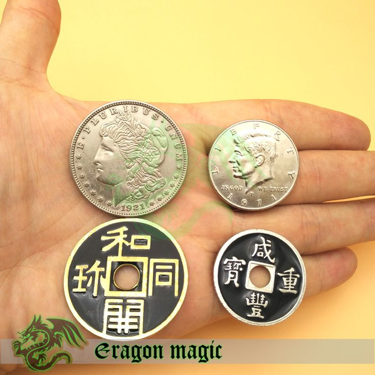 Chinese Half Dollar Morgen Japanese 4 Coins Bundle Sales Free Shipping All Together Eragon Magic Tricks Toys Props