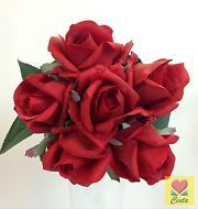 ARTIFICIAL FLOWER LATEX REAL TOUCH RED ROSE FLOWERS WEDDING BOUQUET.