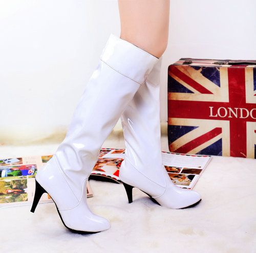 2015 spring new arrive fashion knee-high sexy boots Patent Leather for women winter party JD SHOES THSJKL2-7