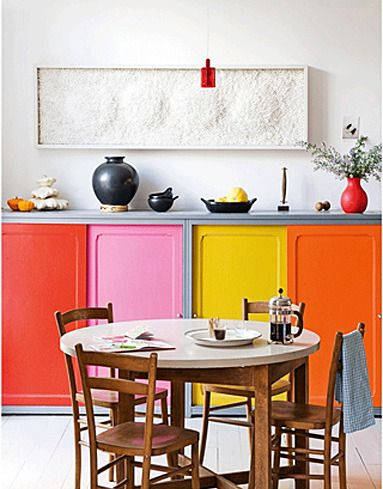 Multicolored storage.Dining Room, Real Living, Kitchens Inspiration, Painting Doors, Interiors Design, Colors Block, Colors Kitchens, Kitchens Cabinets, Cabinets Doors