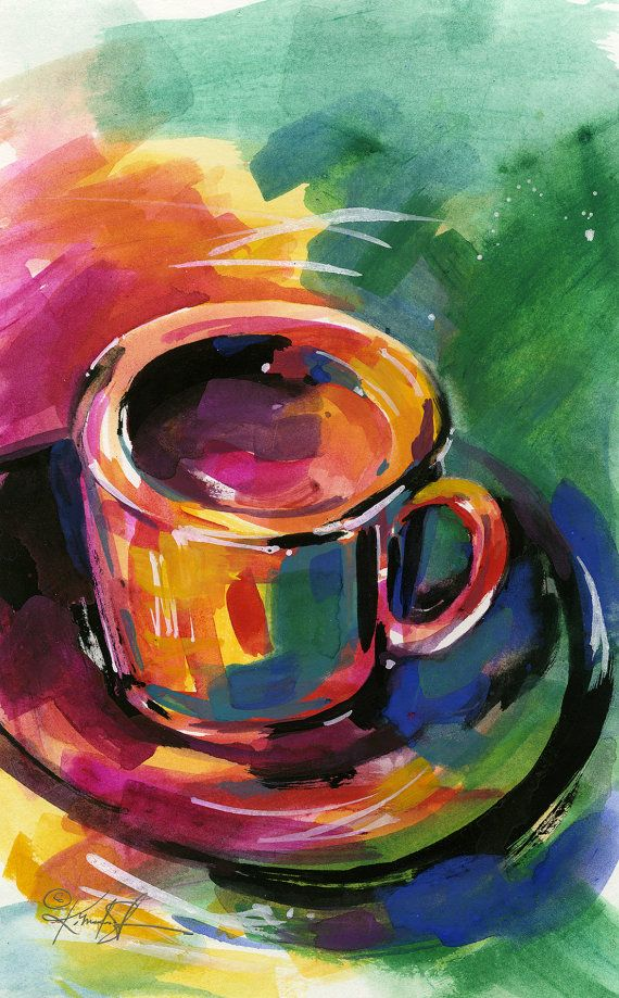25 gorgeous coffee cup art ideas on pinterest coffee for Coffee watercolor