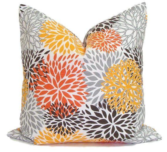 Outdoor Pillows Outdoor Floral Pillow Orange Throw Pillow