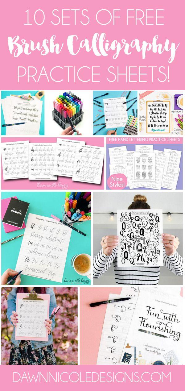 10 Hojas de trabajo de práctica letras de la mano gratis |  DawnNicoleDesigns.com