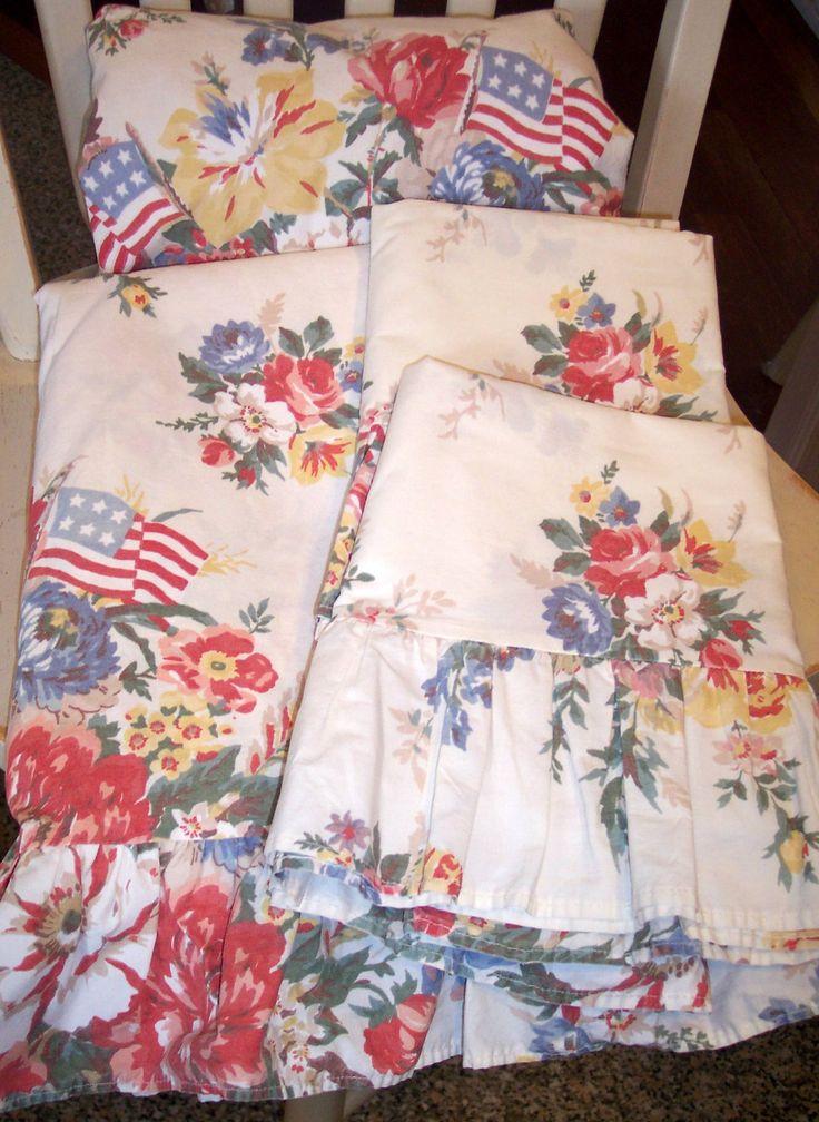 Htf Ralph Lauren Dylanu0027s Grove Flag Floral Ruffled Queen 4pc Sheet Set~euc  1st