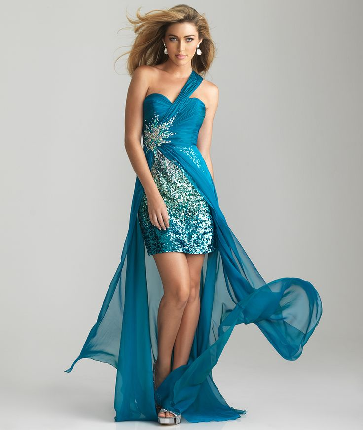 Teal Sequin Ruched Chiffon Sweetheart One Shoulder