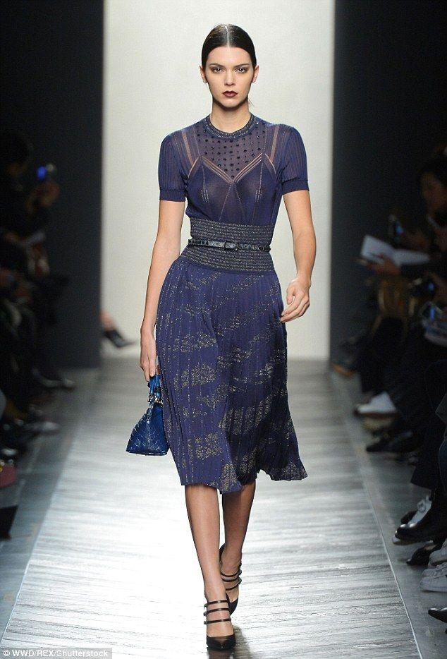 Model behavour: Kendall Jenner was back on the runway on Saturday morning as she modelled for Bottega Veneta during Milan Fashion Week