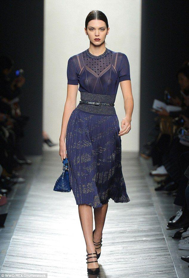 Model behavour: Kendall Jennerwas back on the runway on Saturday morning as she modelled for Bottega Veneta during Milan Fashion Week