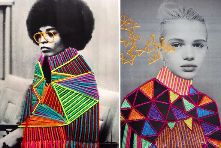 Colorfully Embroidered Vintage Photos of Artists and Cultural Icons by Victoria Villasana | Colossal