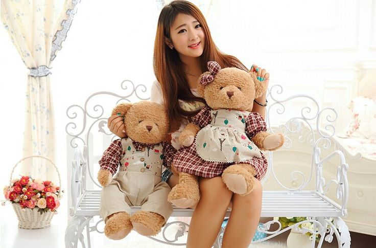 a pair big cartoon flower red colth cute bear toys teddy bear toys lovers bears doll gift about 65cm //Price: $US $69.29 & FREE Shipping //     #rchelicopters
