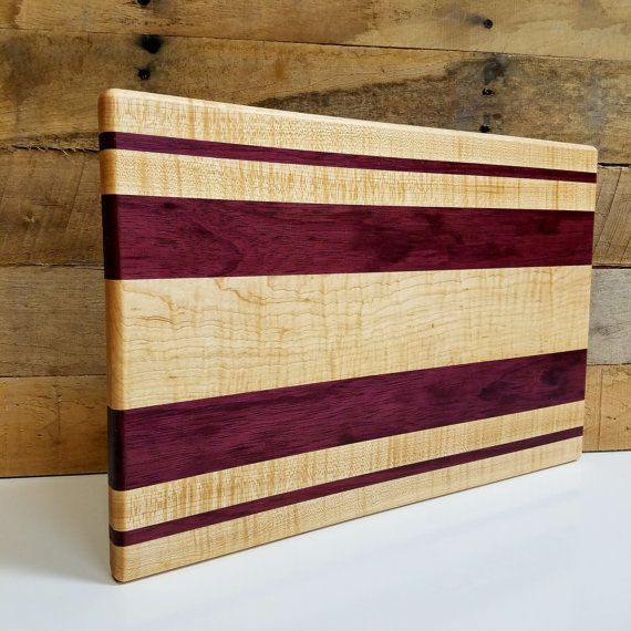 Wood Cutting Board Curly Maple and Purple Heart by MWAWoodworks