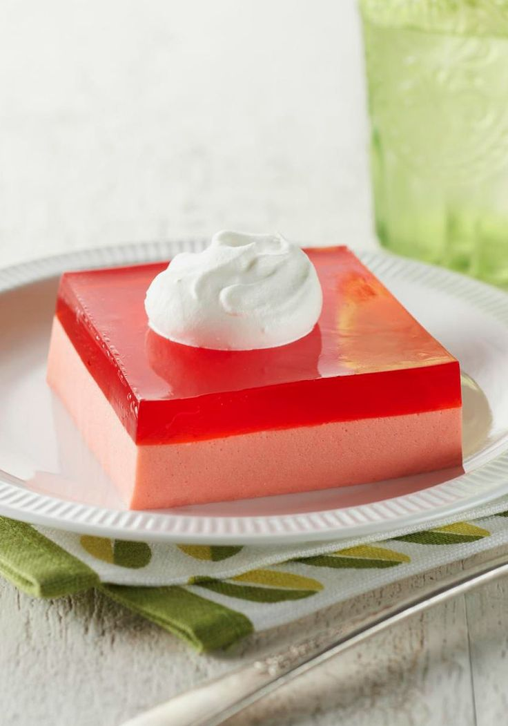 Creamy Layered Squares — Luscious layer of creamy whipped filling, strawberry JELL-O, and airy whipped topping in a dessert that takes just 15 minutes? Yes.