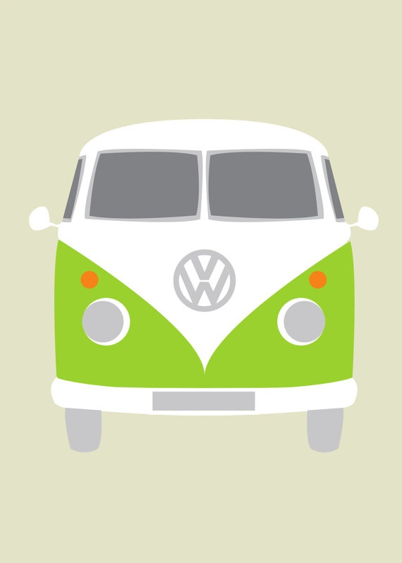Vw Bus Cartoon For Bustache Card