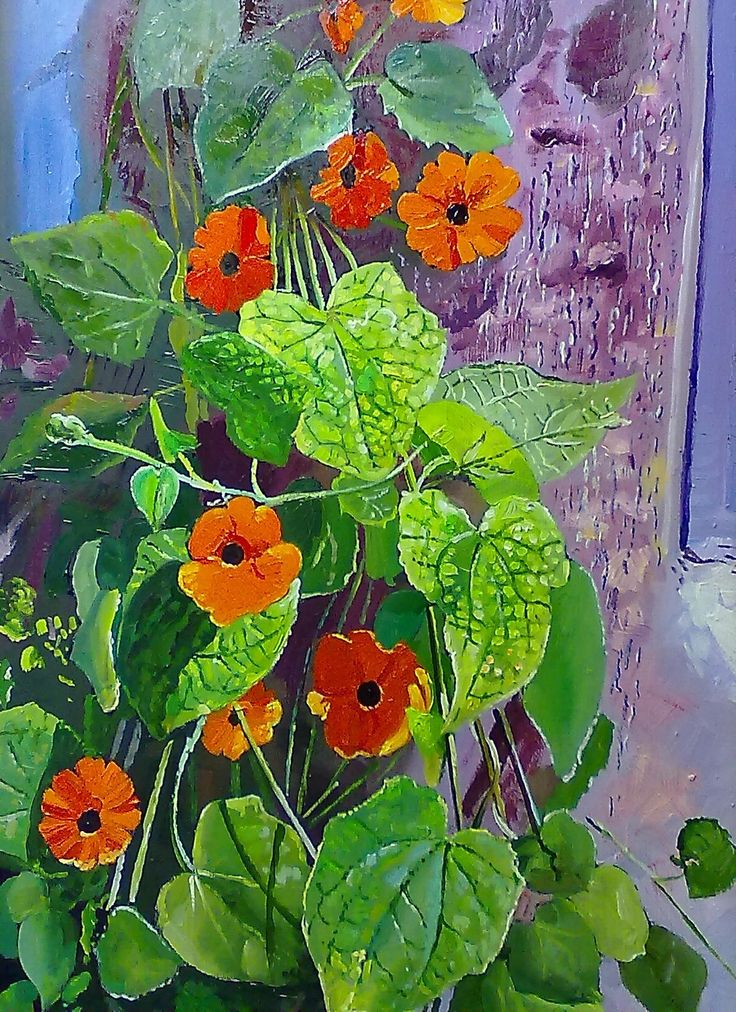 """""""Vine & flower"""" 400 x 600 mm oils & brush on board"""