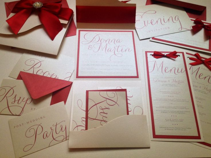 weddig stationery ivory and red