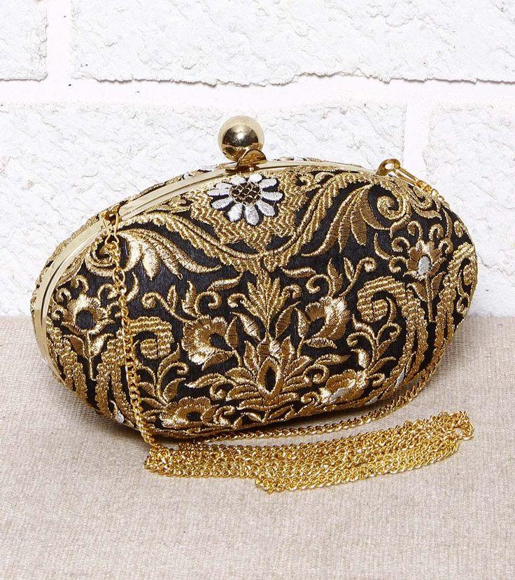 Black Zari Embroidered Clutch