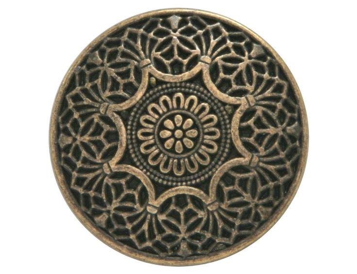 Safi 7/8 inch Metal Button Antique Brass Color