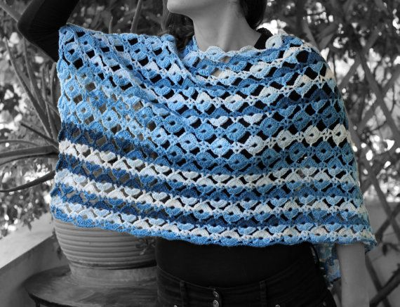 Spring  autumn poncho multicolored yarn by MmeDefargeYarnworks