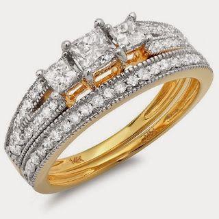 1.00 Carat (ctw) 14k Gold Brilliant Princess Cut 3 Stone Diamond Ladies Engagement Bridal Ring Set Matching Band 1 CTStore Diamond Engagement RingDiamond Engagement Ring