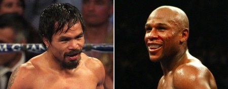 L-R: Manny Pacquiao (Jeff Bottari/Getty Images) and Floyd Mayweather Jr.  (Al Bello/Getty Images)