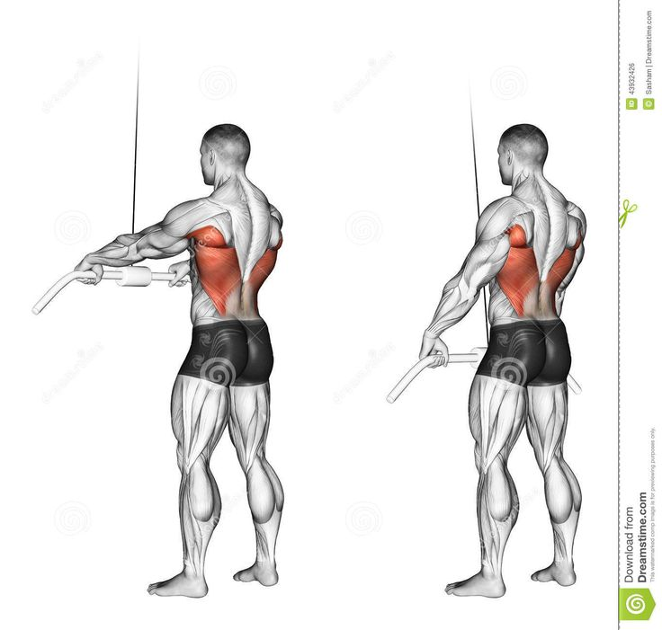 Exercising end of the upper block straight arms