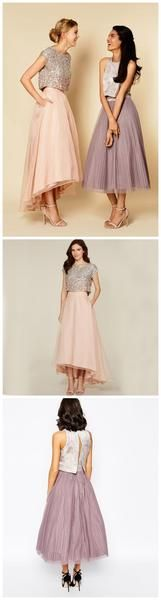 Pretty Two Pieces Cap Sleeve Sequin Top Organza Long Bridesmaid Dresses Cheap…