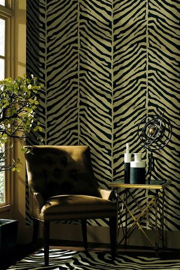 Designer Wallpaper Echo Design Tailored Zebra Black Beige Wallpaper