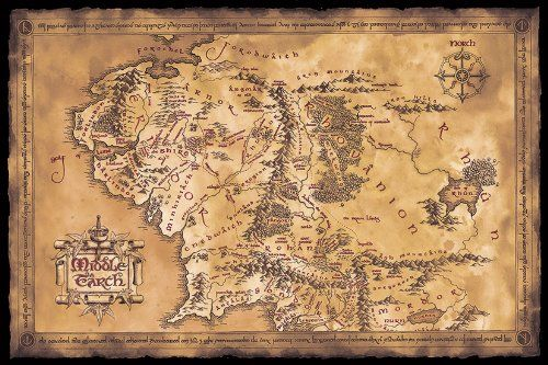 "The Hobbit / The Lord Of The Rings - Middle Earth Map - Movie Poster / Print (Limited Dark / Dark Edition) (Size: 36"" x 24"") (Poster & Poster Strip Set)"