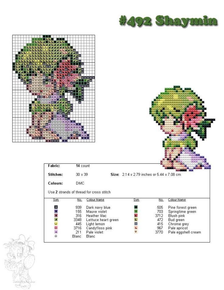 #492A Shaymin Moemon Cross Stitch by zombiefriedchicken
