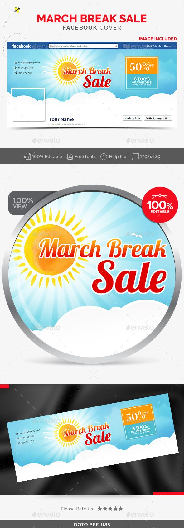 March Break Sale Facebook Cover - Facebook Timeline Covers Social Media   Download http://graphicriver.net/item/march-break-sale-facebook-cover/15174438?ref=sinzo