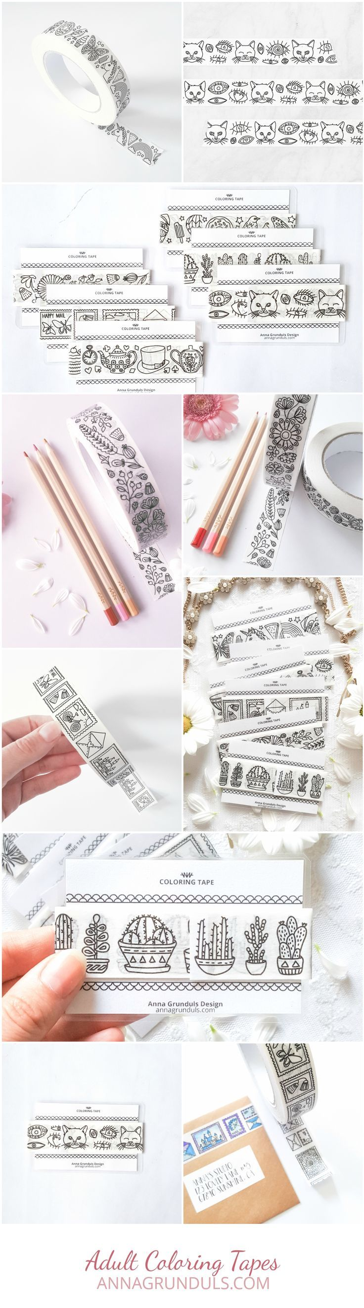 Omg, look at these adult coloring tapes! It would be perfect for all paper crafts, think card making, scrapbooking, gift wrapping! Adhesive tapes to color in must be the idea of the year :)