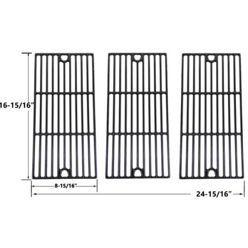 3 PACK GLOSS CAST IRON COOKING GRID REPLACEMENT FOR CHARBROIL 463240804, 463240904, 463241704, 463241804, 463247004, 463251505, 463251605, 463252005, 463252105 GAS GRILL MODELS Fits Compatible GREAT OUTDOORS Models : 8000 , Great Outdoors 1000