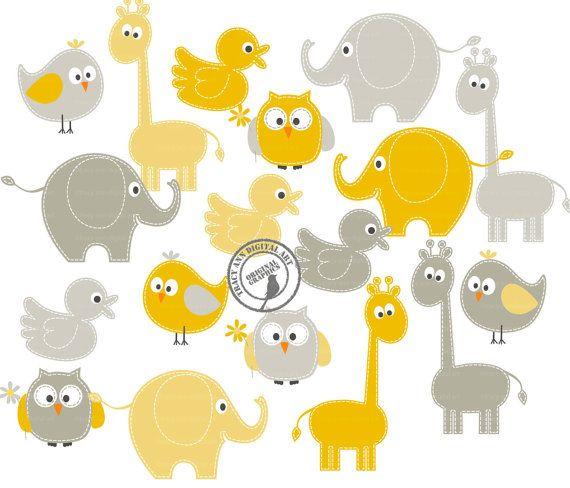 Giallo e grigio Baby animali clipart - ClipArt elefante giraffa - Set 4