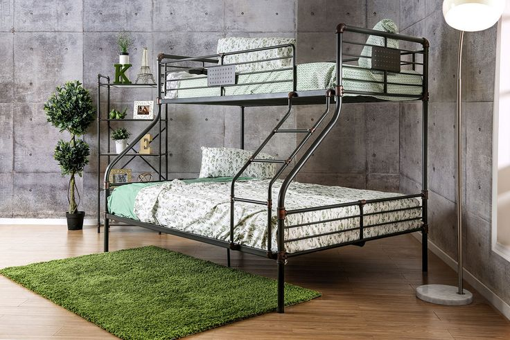 Industrial Piping Extra Long Twin over Queen Metal Bunk Bed