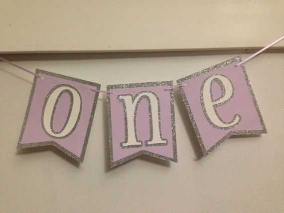First Birthday Party Banner Silver Glitter Purple & White