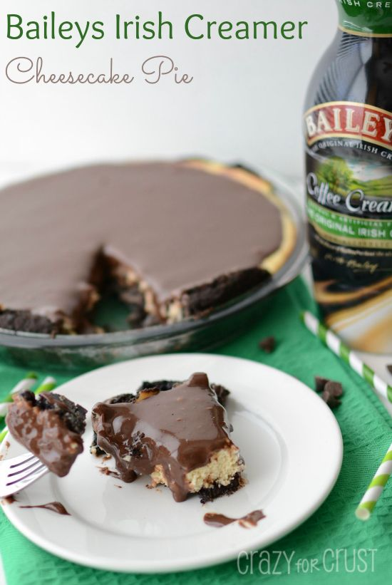 Baileys Irish Creamer Cheesecake Pie is made coffee creamer infused in cheesecake and ganache, with a chocolate cookie crust!