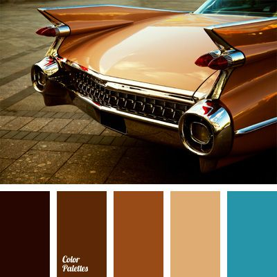 Shades of brown will be in harmony with each other, if they are from the same range. For accents it is best to use a bright blue color..