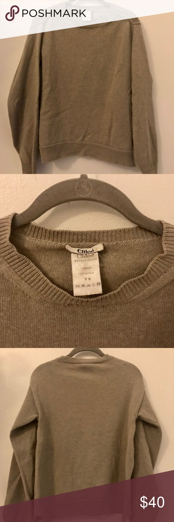 Chloe Brown Wool Sweater Loose fit with long sleeves. There are two spots where the seam needs to be mended (see pics). Otherwise, no flaws. Size S 100% wool Chloe Sweaters Crew & Scoop Necks