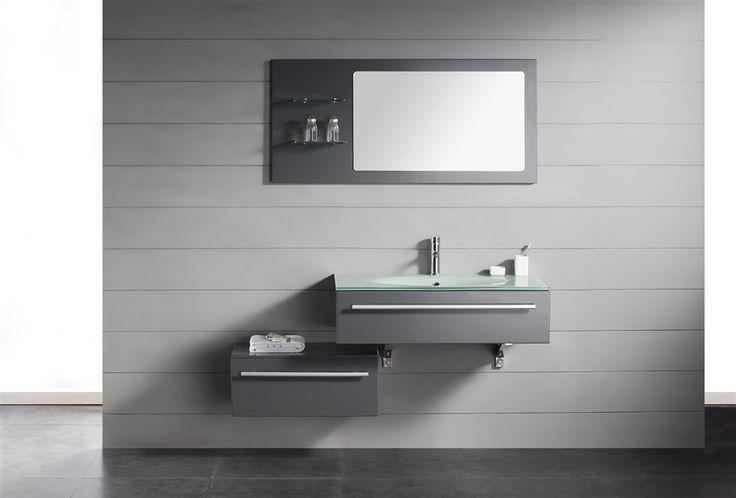 """Kube Grigio 48"""" Modern Wall Mount Bathroom Vanity Set"""