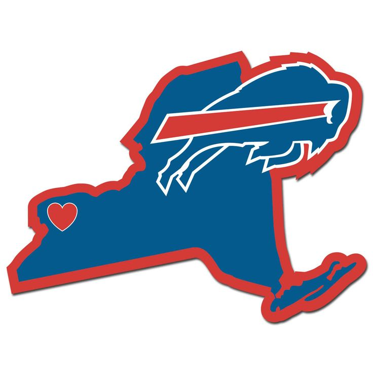Description: It's a home state decal with a sporty twist! This Buffalo Bills decal feature the team logo over a silhouette of the state in team colors and a heart marking the home of the team. The dec