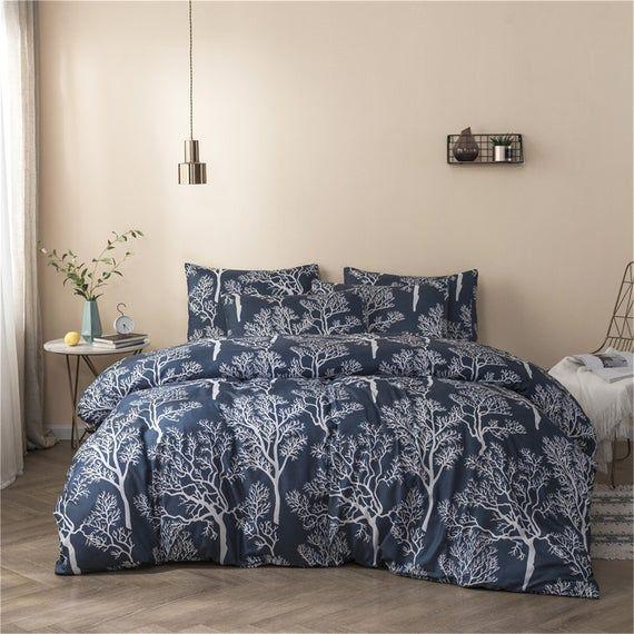 Navy Blue Arborization Duvet Cover Set Tree Comforter Cover Etsy Duvet Cover Sets Duvet Cover Pattern Blue Duvet Cover