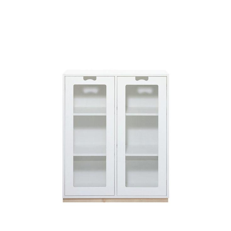 Snö E skåp, med glasdörrar - vit, djup 42 cm