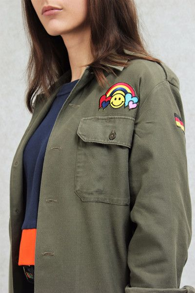 """Hemdblusen - """"Happy Rainbow Warrior"""" Army Hemd Größe S-L unisex - ein Designerstück von JRSewing bei DaWanda"""
