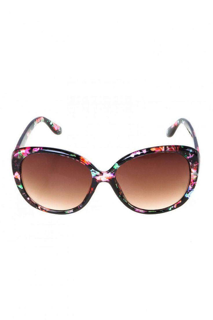 Comanda online, Ochelari de soare cu lentile rotunde rosu cu imprimeuri florale. Articole masurate, calitate garantata!