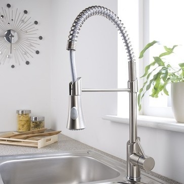 Brushed Nickel Plated PullDown Sprayer Kitchen Faucet