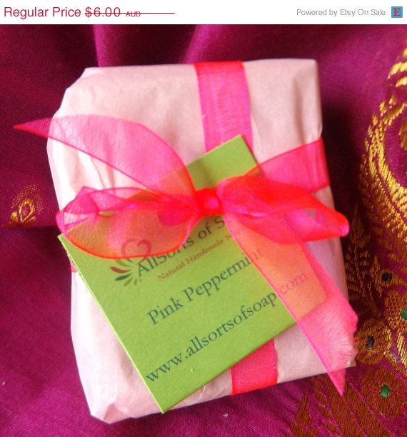 On Sale Pink Peppermint Soap/natural vegan ingredients/No Palm Oil - pinned by pin4etsy.com