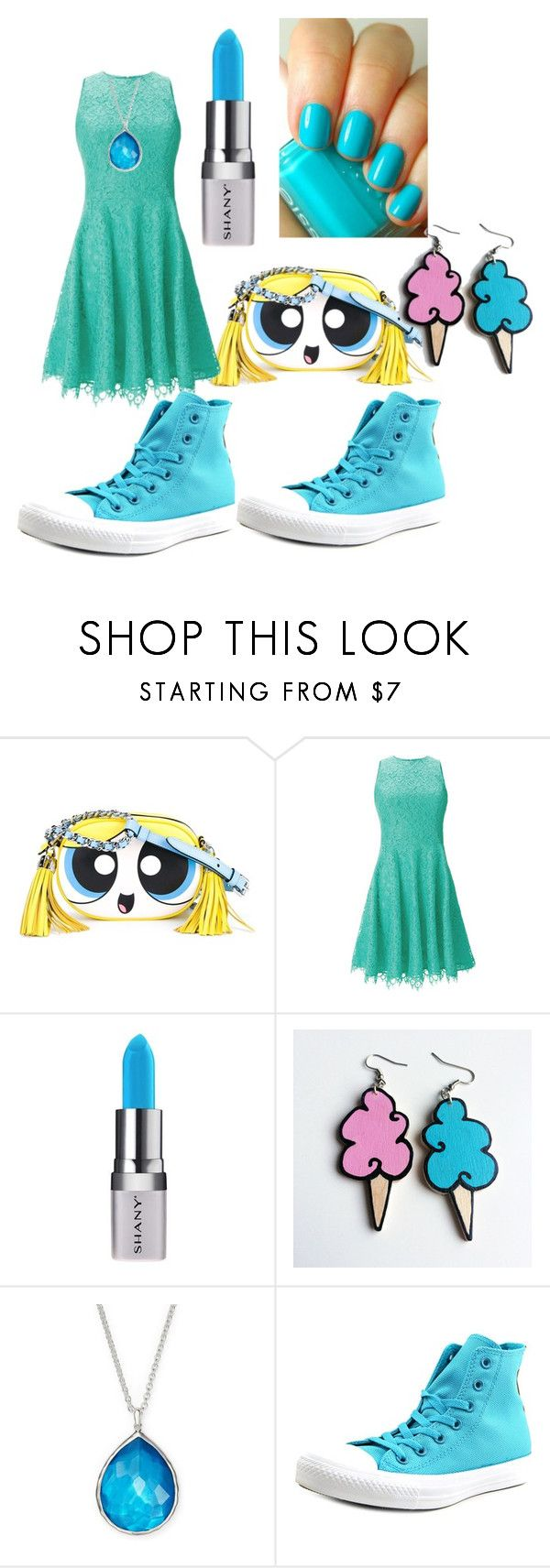 """powerpuff girl bubbles"" by asiagandy ❤ liked on Polyvore featuring Moschino, Shoshanna, Shany, Essie, Junk Food Clothing, Ippolita, Converse, bubbles and PowerpuffGirls"