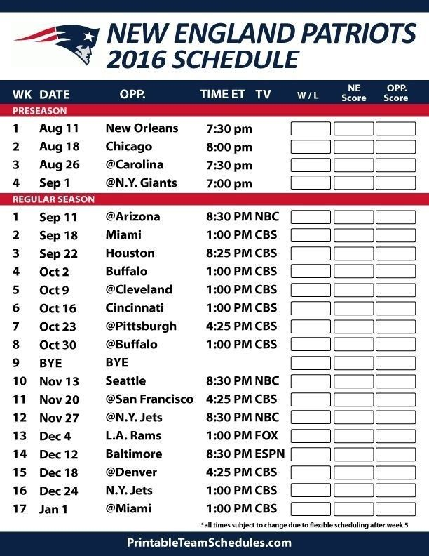 image relating to New York Giants Printable Schedule titled Patriots Agenda 2018 2019 Printable fresh new england